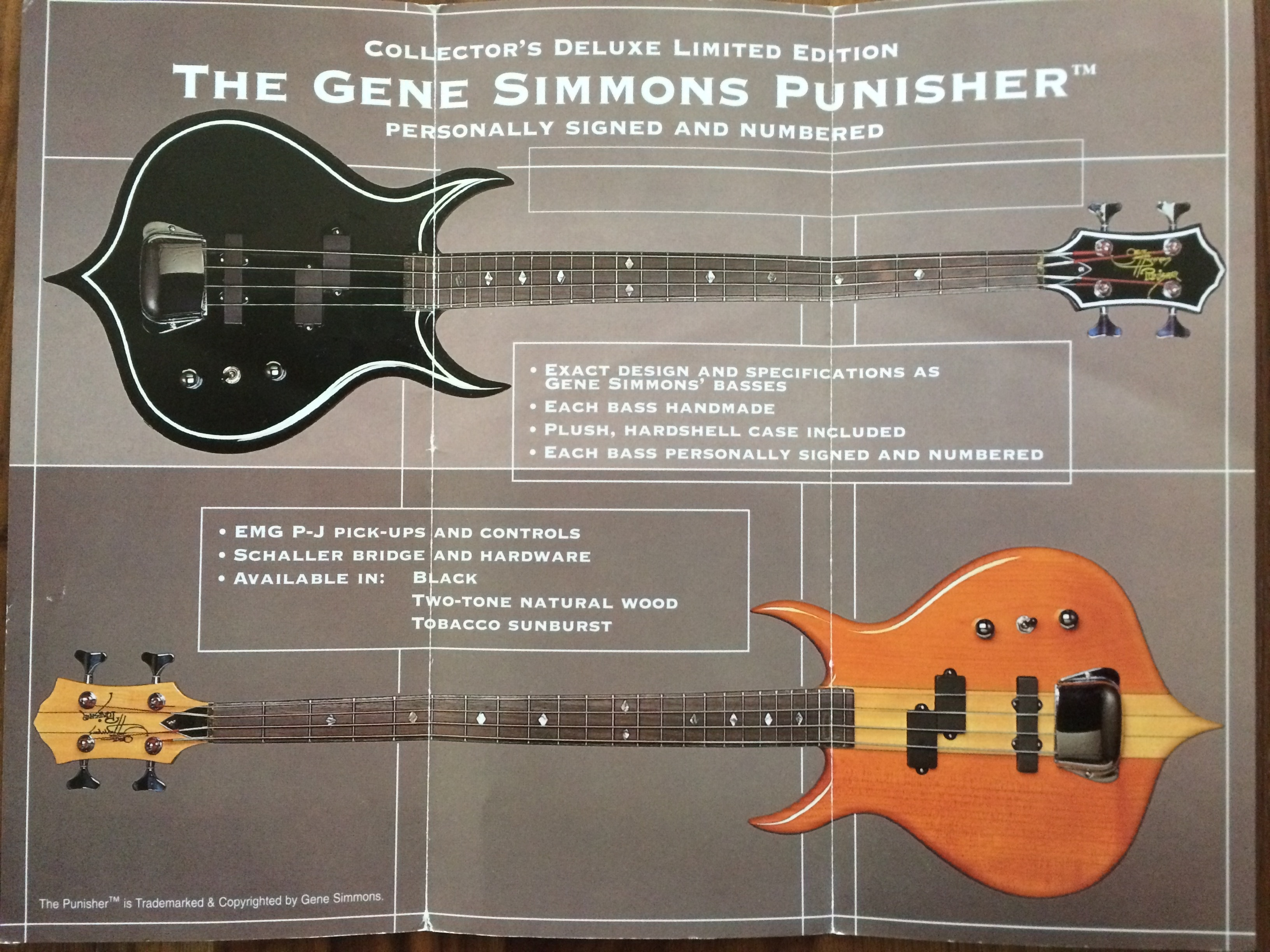 Original Verkaufsprospekt von Gene Simmons Punischer Bass.